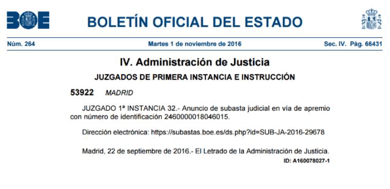 Anuncio de Subasta en el BOE como notificaciones judiciales