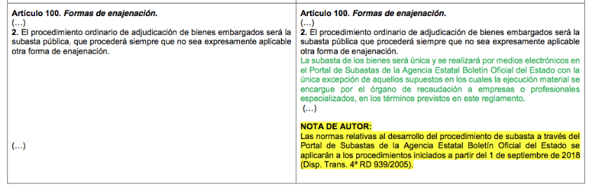 Art 100 de las subastas de Hacienda