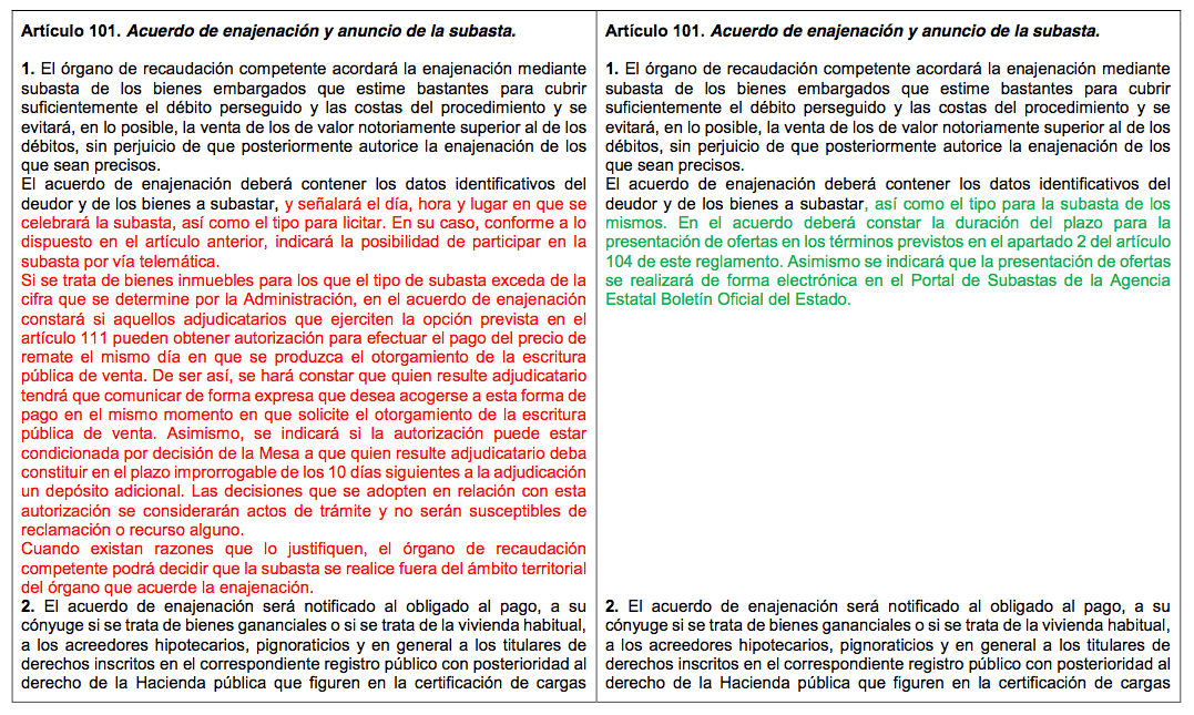 Art 101 del nuevo reglamento de Hacienda