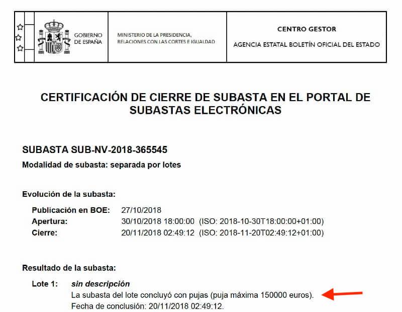 Certificado de cierre de subasta quebrada