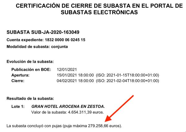 Certificado de cierre de la subasta del Hotel Arocena